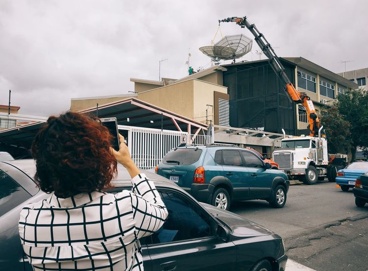 Communications Tower Communication Satalite Dish Men At Work  Taking Pictures Taking Photos