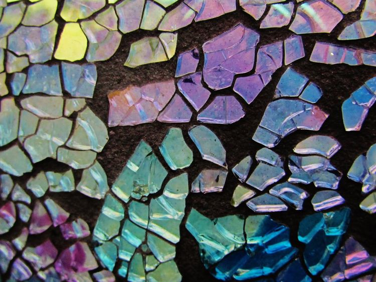 Blue Color Backgrounds Close-up Mosaic Multi Colored Pattern Purple Color Reflection Stained Glass Glass Glass - Material Glass Mosaic
