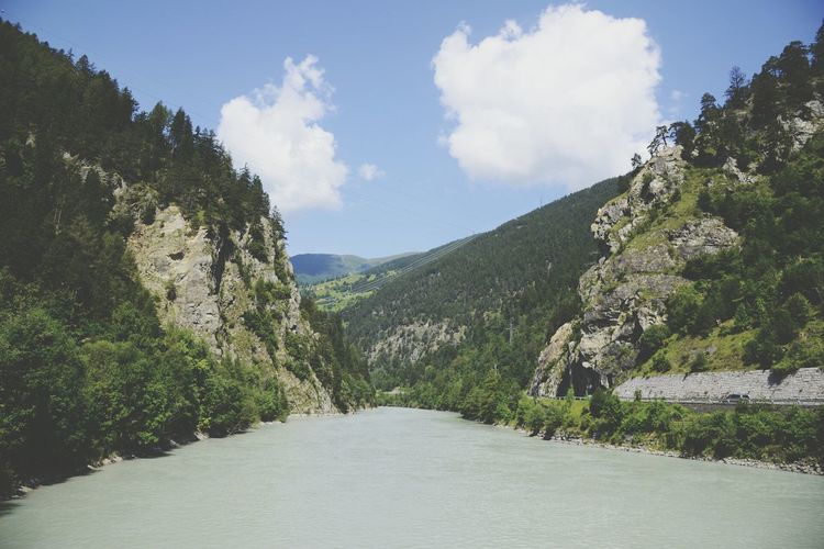 Somewhere down the river River Austria Bridge Clouds