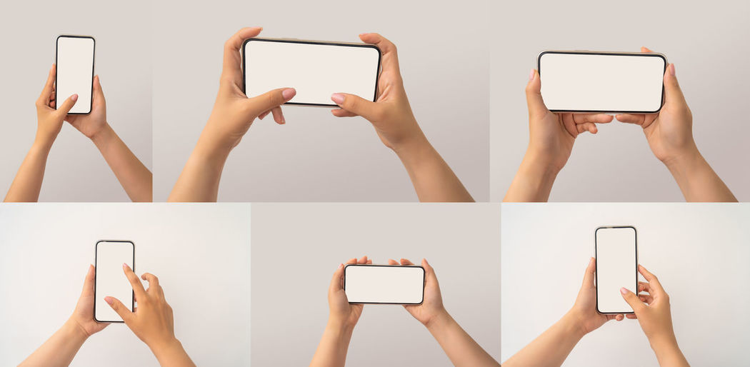 Digital composite image of woman photographing against white background