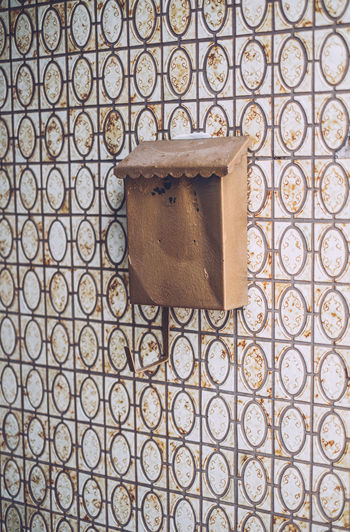 Angled Brown Centered Composition Copper  Mailbox Old Pattern Rusted Wall