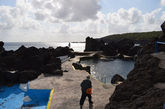 Swimming pools built into the volcanic rocks in the ocean Azores Açores Faial Faial Island Ocean Pools  Swimming