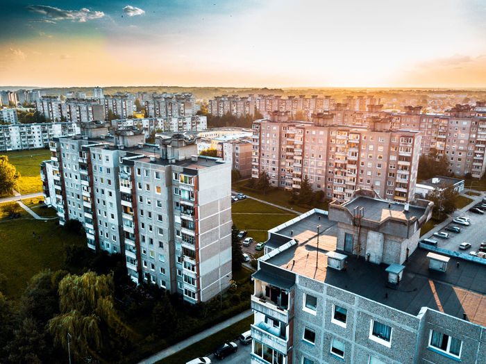 Concrete jungle DJI X Eyeem DJI Mavic Pro Kaunas Lietuva Lithuania Silainiai City Cityscape Skyscraper Urban Skyline Sunset High Angle View Business Finance And Industry Sky Architecture Building Exterior Aerial View