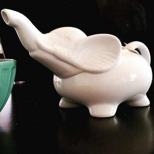 Celebrating Worldelephantday with some fresh brewed tea 🐘 Elephantteapot Favoriteanimal AfterHenry HarneyandSons Hotcinnamonspice