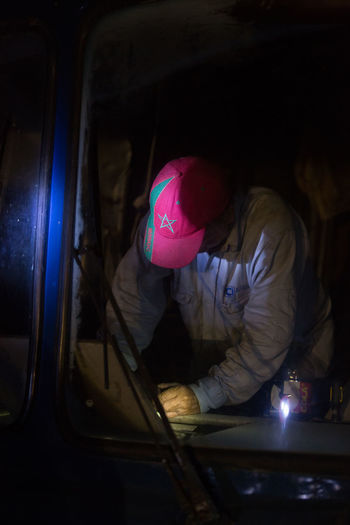 Man working in bus