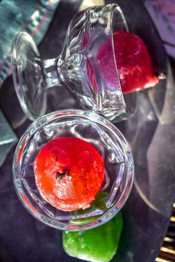 High angle view of strawberry in glass on table