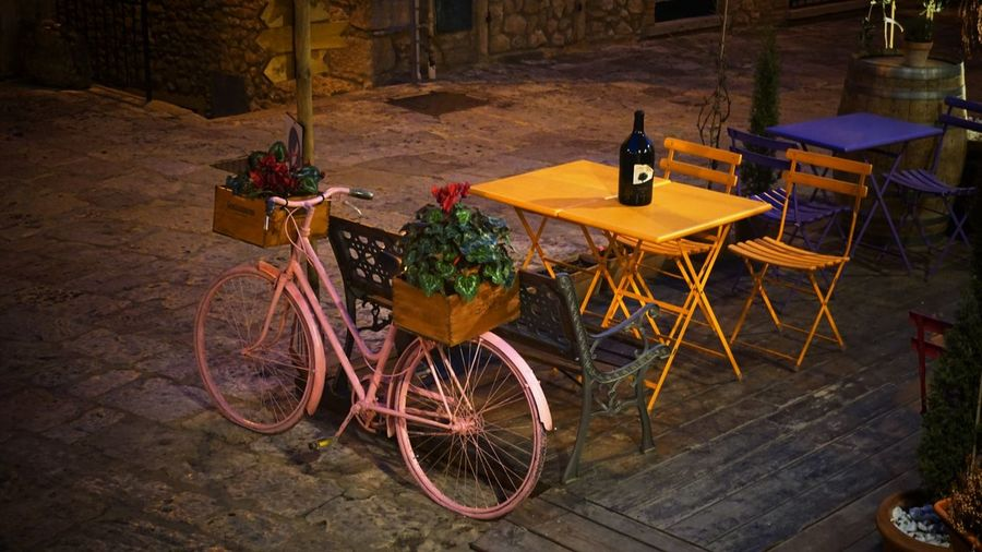 Art Is Everywhere Table Chair No People Bicycle Outdoors Night Tuscany Authentictuscany Beautiful Tuscany Tuscany Toscana