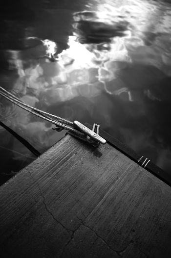 High angle view of fishing boat in lake