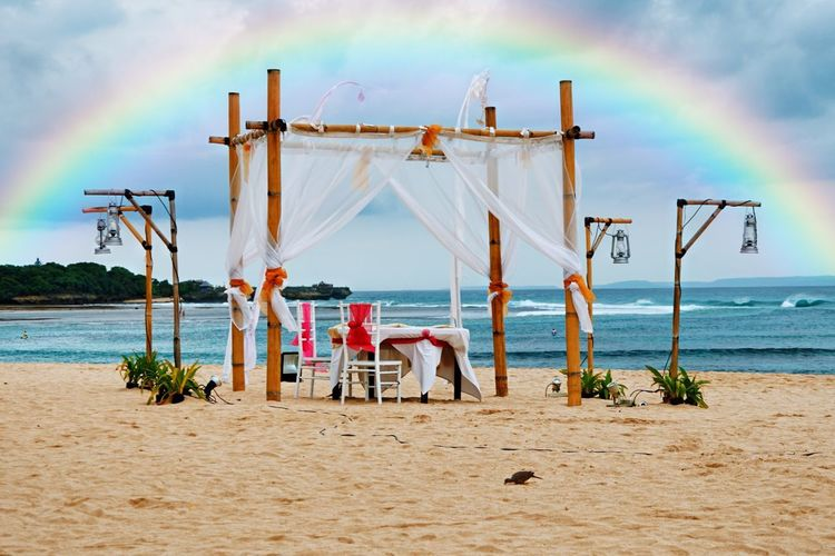 A romantic dining place EyeEm Selects Sky Water Sea Beach Land Cloud - Sky Scenics - Nature Chair Tranquil Scene Beauty In Nature Transportation Horizon Tranquility Outdoors No People Day Seat Horizon Over Water Nature Sand