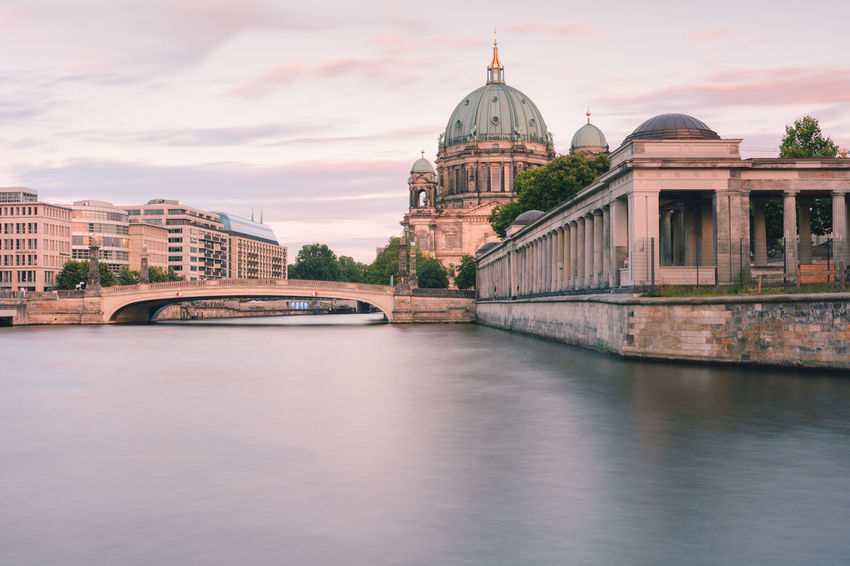 Berlin Cathedral at sunset Berlin Berlin Cathedral Berlin Mitte Berliner Dom Copy Space Spree River Berlin Arch Bridge Architecture Bridge Bridge - Man Made Structure Building Building Exterior Built Structure City Connection Dome Government Museum Island Berlin Nature No People Outdoors Religion River Sky Summer In Berlin Sunset In Berlin Tourism Travel Travel Destination Travel Destinations Water Waterfront