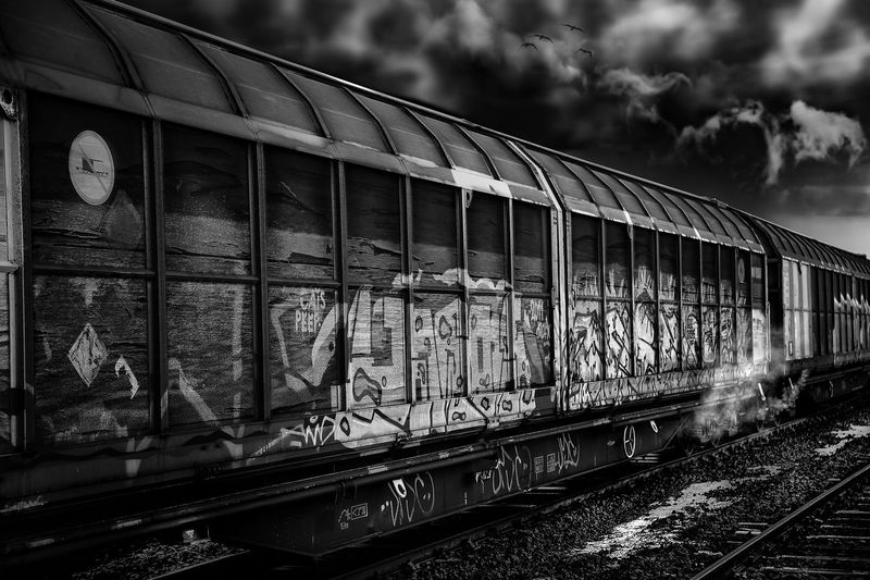 night Express Skay Cloud - Sky Cloud Blackandwhite Black And White Black & White Bird EyeEm Best Shots EyeEmNewHere Eye4photography  Mystery Germany Andernach Canon Canonphotography Transportation Transport Train Train Station Travel Destinations Travel Traveling Travel Photography Night Nightphotography Rail Transportation No People Outdoors Sky Day