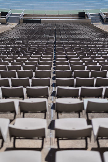 Auditorium Barcelona Barcelona Spain Bleachers Chair Day In A Row Large Group Of Objects No People Olympic Stadium Olympic Stadium Barcelona Outdoors Repetition Seat Stadium