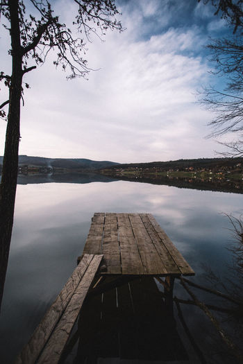Beauty In Nature Cloud - Sky Day Lake Nature No People Outdoors Pier Plant Reflection Scenics - Nature Sky Tranquil Scene Tranquility Tree Water Wood Wood - Material