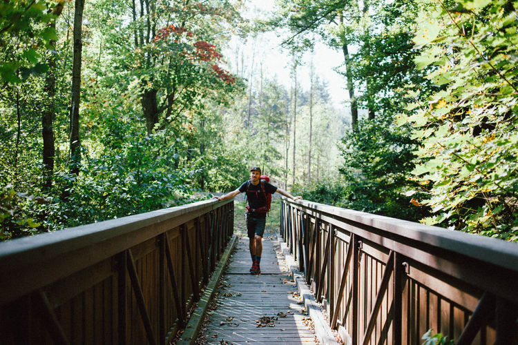 Full length of man standing on footbridge in forest
