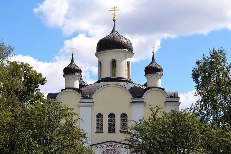 Low angle view of russian orthodox church against sky