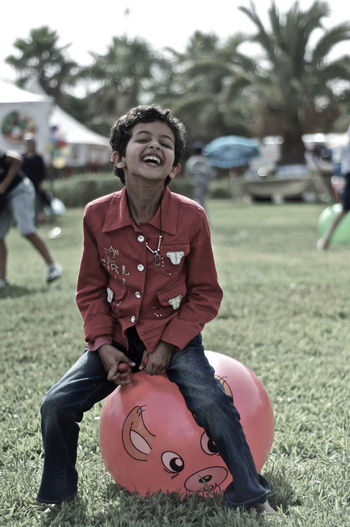Bouncing Child Happiness Innocence Laugh Playing Smile