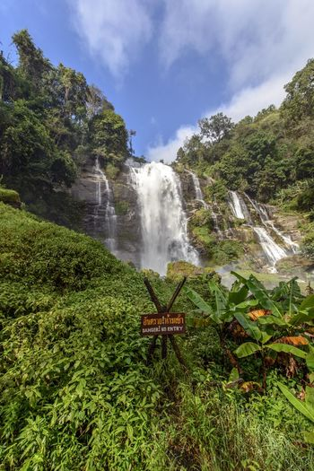 Wachirathan Waterfall Water Plant Nature Scenics - Nature Green Color Beauty In Nature Land Motion Sky Growth Cloud - Sky Grass No People Day Waterfall Tree Environment Landscape Tranquility Outdoors Flowing Water Power In Nature