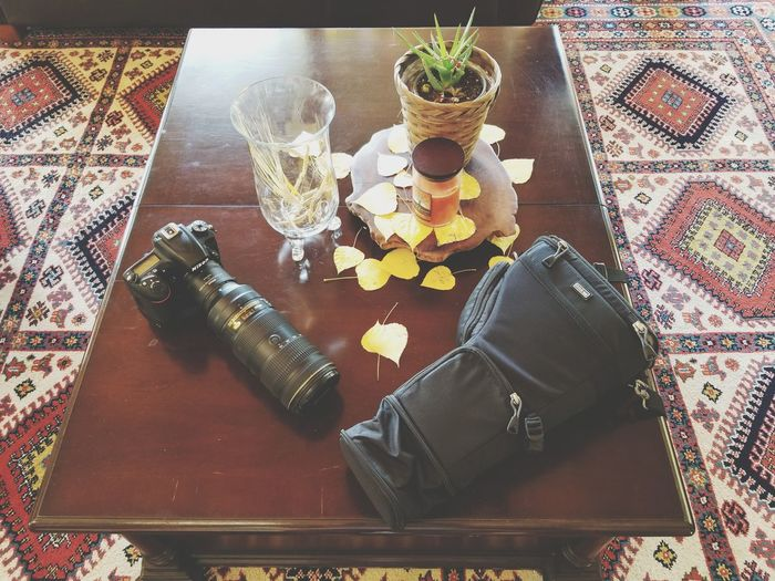 Nikon Photography Equipment 70-200mm Holster Teleconverter Fall Table High Angle View Close-up