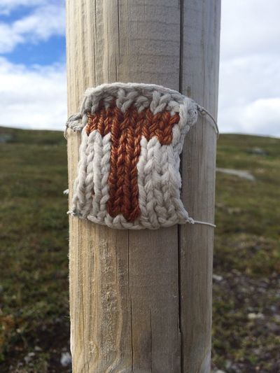 knitted marking on mountain walking track Hiking Mark Norway Close-up Hiking Track Knitted  Mountains Nature No People Summer Route Track Tt