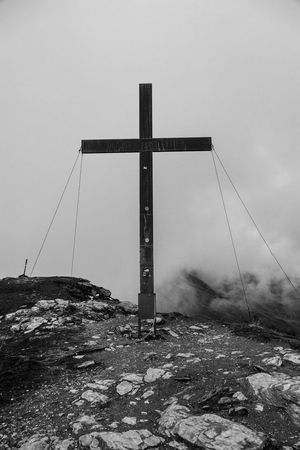 Clear Sky Cross Day Footpath Gipfel Gipfelkreuz Hill Kreuz  Mountain Mountain Peak No People Outdoors Peak Scenics The Way Forward Blackandwhite Black And White Black & White Blackandwhite Photography Black And White Photography Black And White Collection