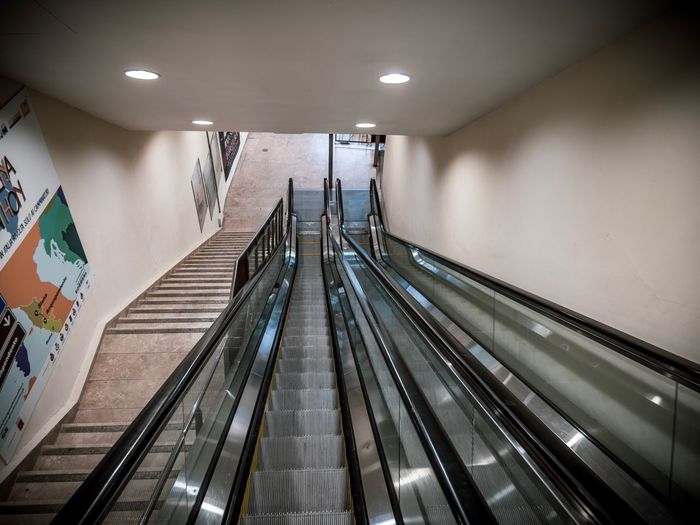 EyeEm Selects Indoors  Architecture Illuminated Railing Lighting Equipment Ceiling Transportation Built Structure The Way Forward Staircase Escalator Steps And Staircases Diminishing Perspective Modern The Architect - 2019 EyeEm Awards