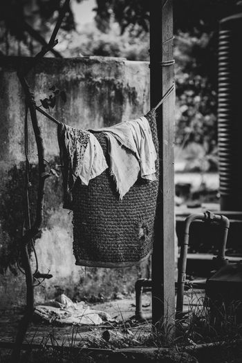 hung out to dry Black And White EyeEmNewHere Carpet Angle Rags Dreary Old Coathanger Drying Hanging Clothesline Close-up Sky Clothes Clothes Rack Cloth Residential Structure Exterior