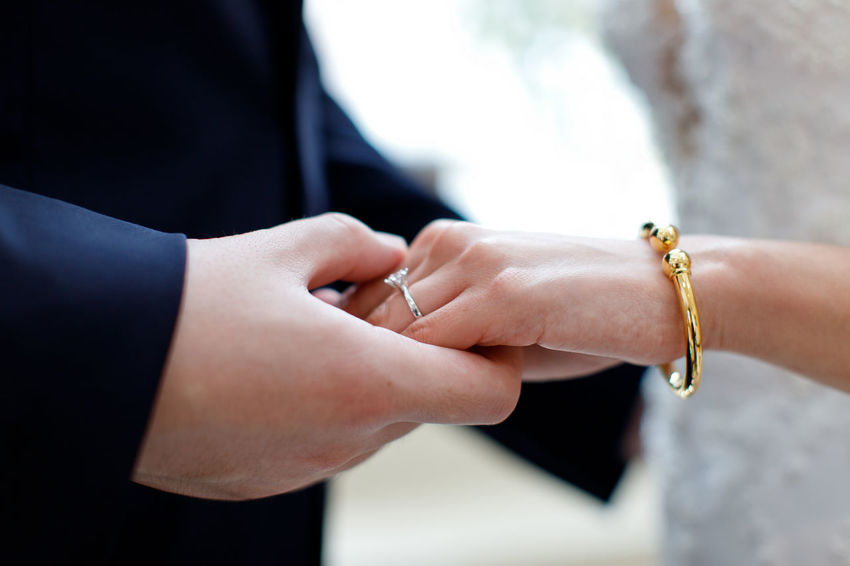Relationship Holding Hands Adult Bride Bridegroom Celebration Ceremony Couple - Relationship Event Finger Hand Human Body Part Human Hand Jewelry Love Married Men Newlywed Positive Emotion Ring Two People Wedding Wedding Ceremony Women