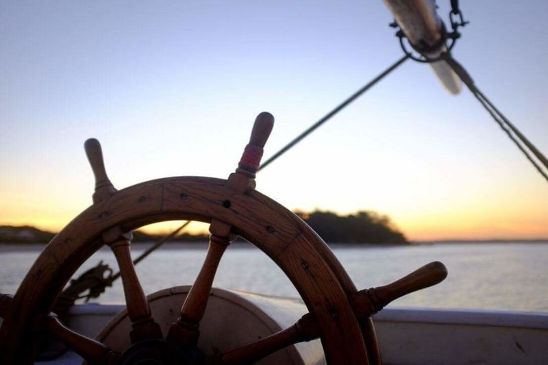 Tallship Tall Ship Nautical Vessel Sea Helm Sailing Water Transportation Sunset Yacht Sailboat Wheel Travel Journey Nature No People Sky Outdoors Vacations Sailing Ship Boat Deck Nature Beauty In Nature