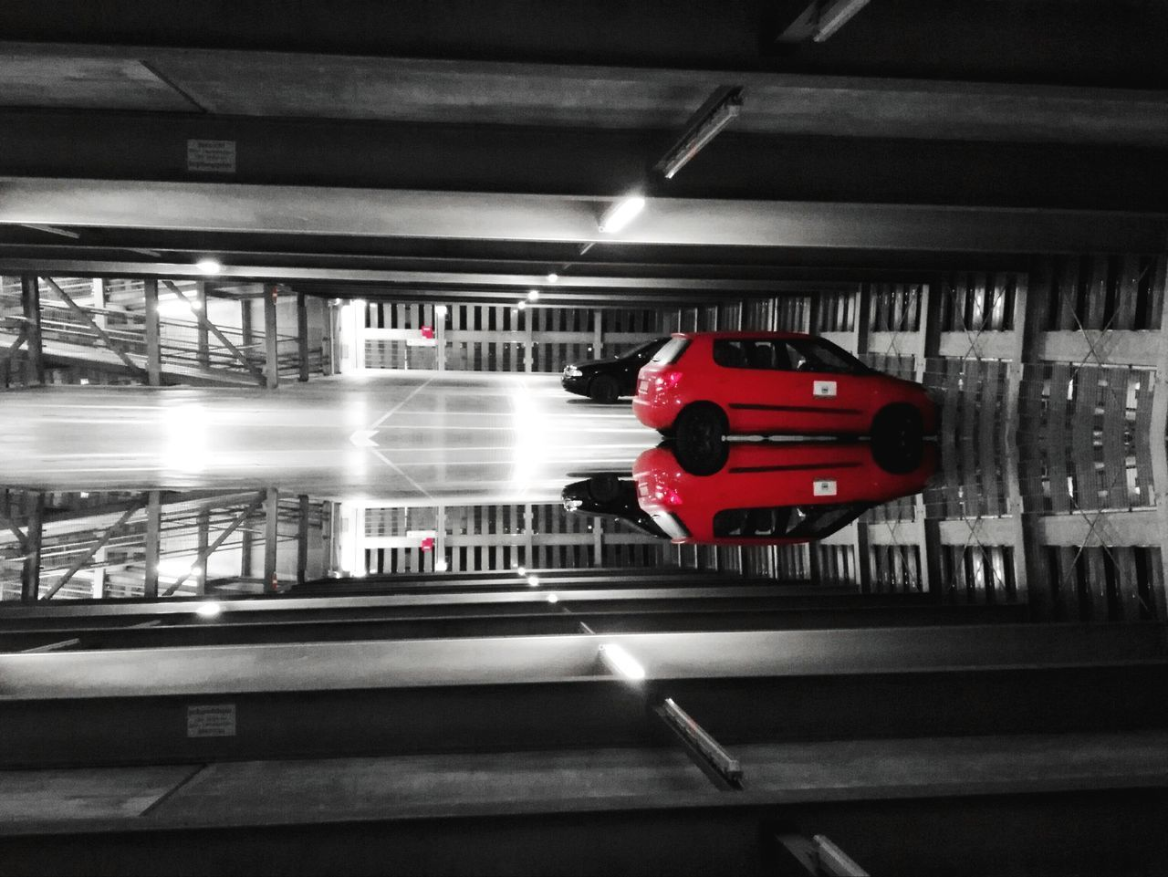 illuminated, red, indoors, transportation, no people, day
