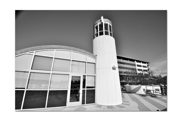 Observation Deck 1 Jack London Square Marina Port Of Oakland, Ca Architecture Lookout Deck Architectural Detail Nautical Theme Lighthouse Monochrome_Photography Monochrome Black & White Black & White Photography Black And White Black And White Collection  Architecture_collection Glass Reflections Reflections In The Windows Reflected Glory