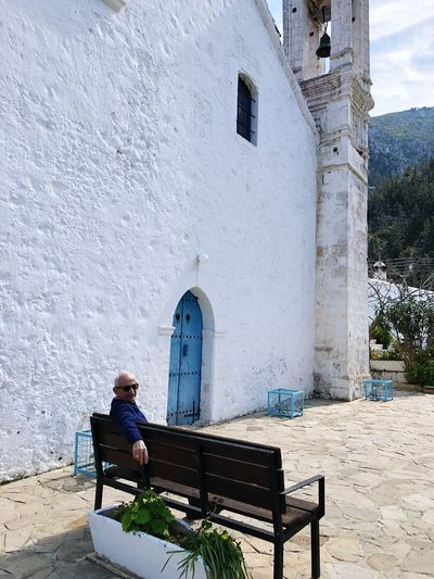 Church Cyprus Karmi Church Tower Church Built Structure Architecture Building Exterior Seat Day Building Real People Religion Sitting Place Of Worship Lifestyles Bench Outdoors Leisure Activity Nature