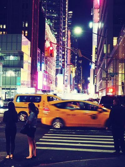 Illuminated Street City Life Road Night Yellow Taxi Neon NYC Empirestate