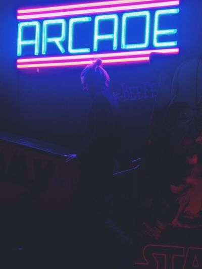 One Person Neon Indoors  Lifestyles Illuminated Arcade Retro Styled HUAWEI Photo Award: After Dark