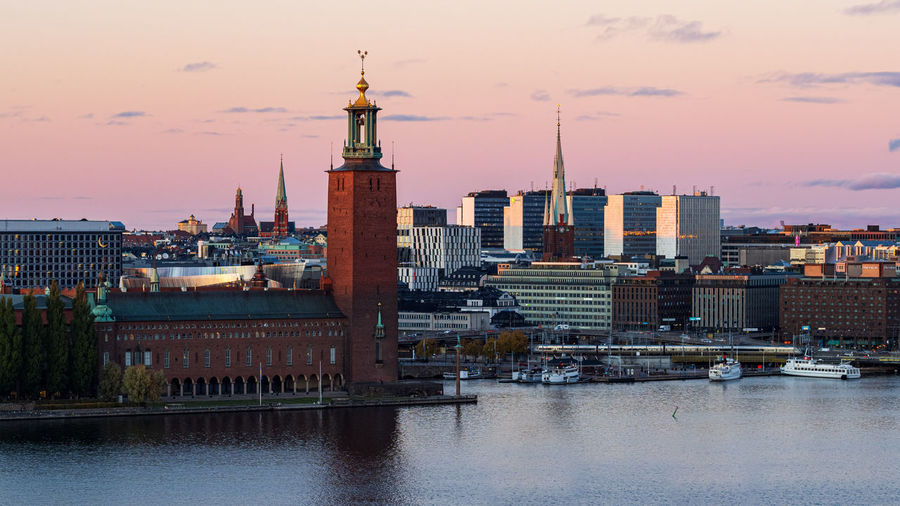 Beautiful evening view of central stockholm with the city hall reflecting in riddarfjärden