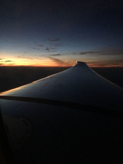 Plane Airplane 777 Wing Sunset Reflection Colors