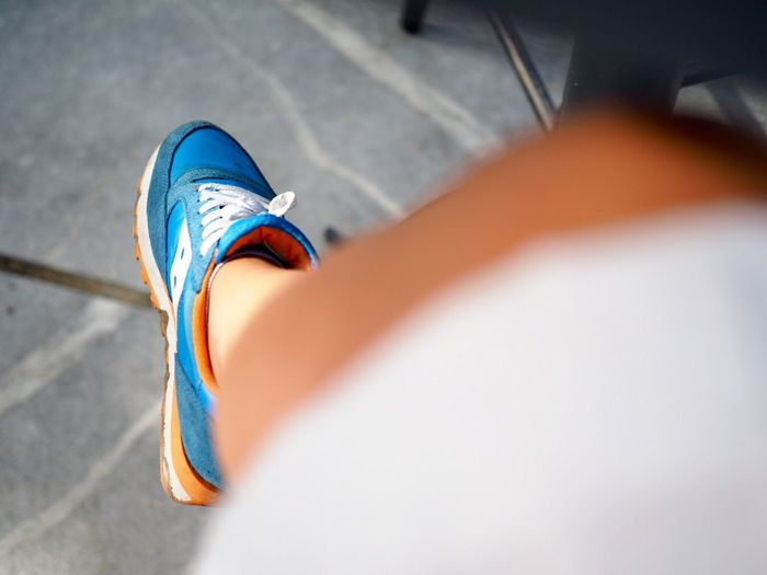 EyeEm Selects Break Breakfast Time Low Section Human Leg Shoe High Angle View Human Body Part Day One Person Real People Sitting Cityscape Outdoors Close-up People Saucony Sauconyjazz Urbanphotography City Life Sofia, Bulgaria City Daylight Sneakers Haddocshop Fashion Stories