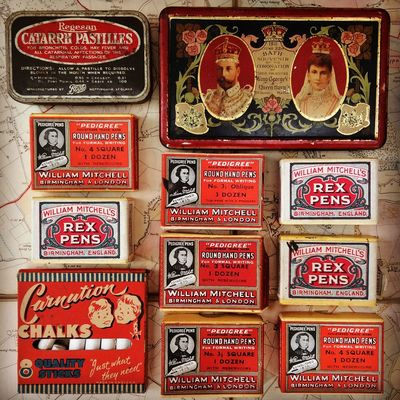 Advertising Arrangement Chalks Collection Coronation  Historic Advertising In A Row Large Group Of Objects Old Packaging Pastilles Pen Nibs Red Rex Shabby Chic Still Life Text Tins Variation Vintage Vintage Packaging Vintage Products Words