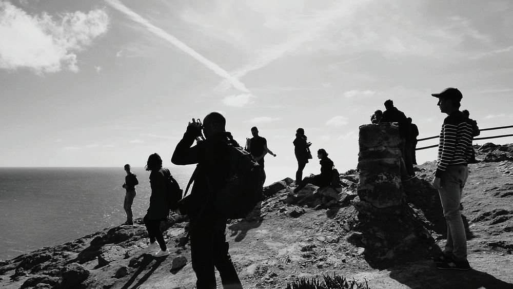 Monochrome Photography People Watching Cabo Da Roca People Hanging Out People Photography Live For The Story