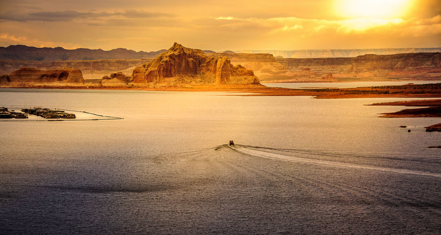 Lake Powell American West Beauty In Nature Lake Powell Landscape Mountain Nature No People Outdoors Scenics Sky Sunset Tranquil Scene Tranquility Water