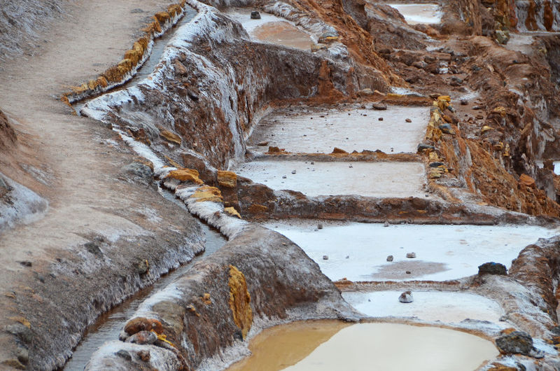High angle view of salt terrace at maras