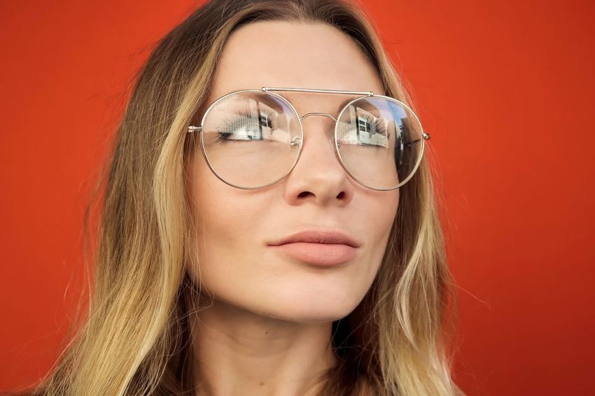Monochrome Orange Color Face Portrait Headshot One Person Beauty Young Adult Front View Studio Shot Women Glasses Beautiful Woman Hairstyle Fashion