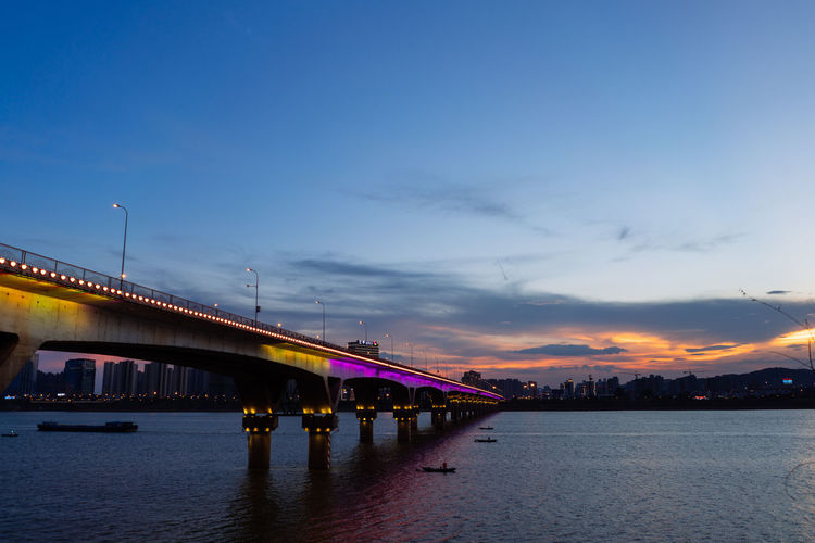 Sky Built Structure Bridge Architecture Water Connection Bridge - Man Made Structure Cloud - Sky Transportation Sunset River Waterfront Nature Illuminated Engineering City Building Exterior Dusk Outdoors Long Buildings & Sky Building ASIA China EyeEmNewHere Skyline