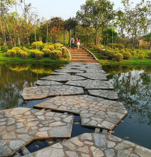 Stone Floating Bridge Pond Bridge Light And Shadow Blackground Out Door  Green Landscape Water Splash Outdoors Reflection Tree Water Day Nature Sky Beauty In Nature