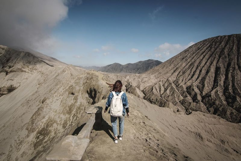 Climb INDONESIA Volcanic Landscape Canon Mountain Leisure Activity Lifestyles Sky Real People One Person Cloud - Sky Scenics - Nature Mountain Landscape Sunlight Outdoors Nature