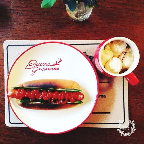 朝ごはん Breakfast HotDog Yummy Chai Marshmallow Morning