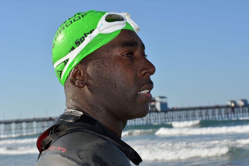 Face of a determined triathlete. TRIATHLON Triathlete Xterra Wetsuit Ironman 140.6 Swimmer TYR Athlete
