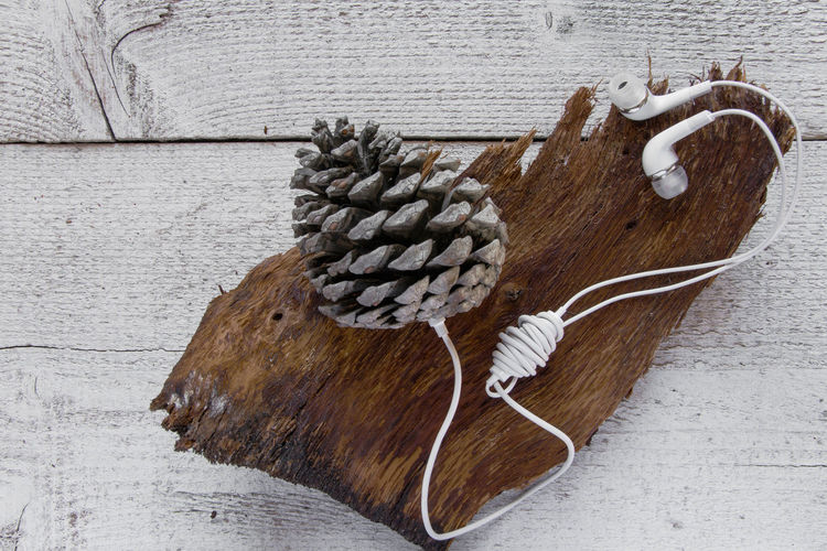 High Angle View Of Pine Cones With Headphones On Wooden Table