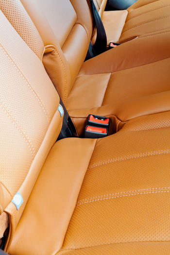 High angle view of seats in car