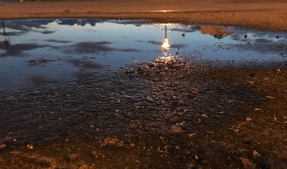 Reflection in the water Water Reflection Nature Outdoors No People Sunset Puddle Beauty In Nature Sky Close-up