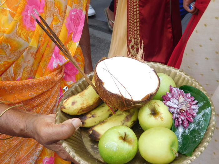 Cavadee Apples Bananas Bowl Cocoa Incense Sticks Offering Saree